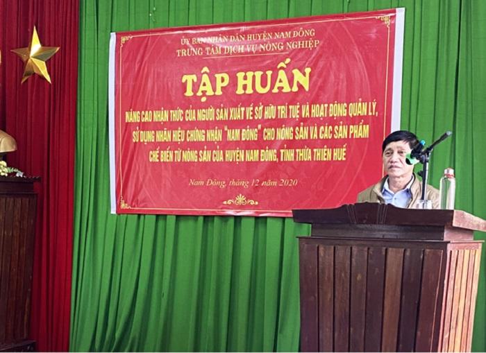 Ông Nguyễn Hùng - Nguyên Trường phòng Quản lý - Sở Khoa học và Công nghệ tỉnh Thừa Thiên Huế tại buổi tập huấn